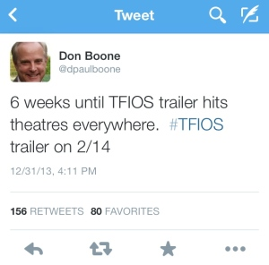 Don Boone (father of TFIOS director Josh Boone) finally lets all of the fangirls know that the official TFIOS movie trailer will be released on 2/14!